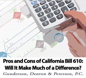 Pros and Cons of California Bill 610 by Brad Denton of Gunderson, Denton & Peterson